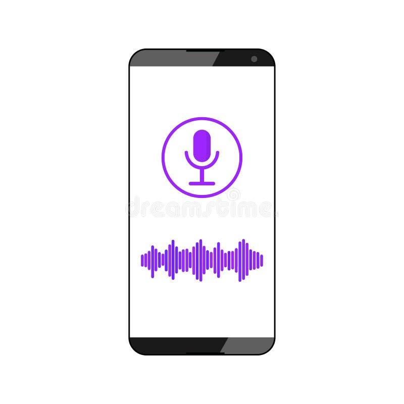 Reconocimiento vocal Ayudante elegante del discurso Un símbolo sano de la tecnología inteligente Ejemplo del vector aislado encen ilustración del vector