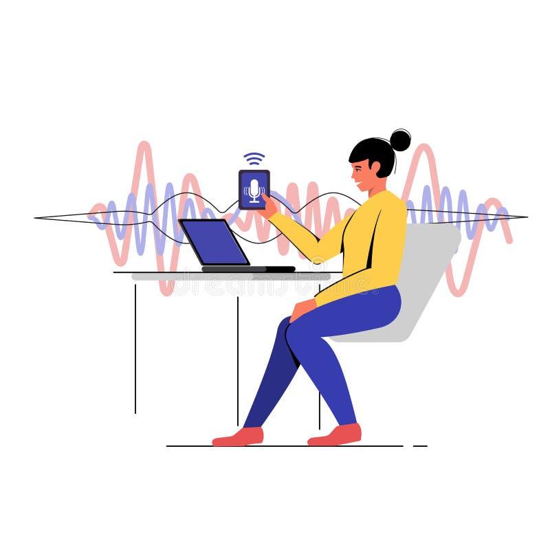 Reconocimiento vocal Gestión del ayudante intelectual de la voz diagrama del concepto libre illustration