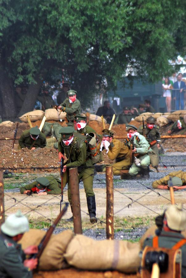 Reconstitution de bataille d'Osovets image stock