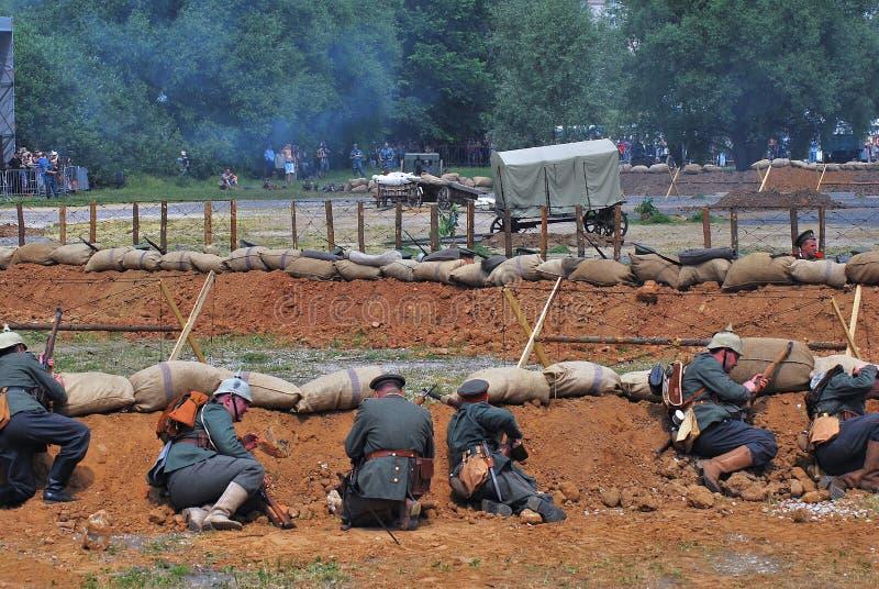 Reconstitution de bataille d'Osovets photo stock