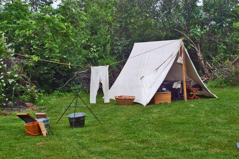 Reconstitution de camping de guerre civile image libre de droits