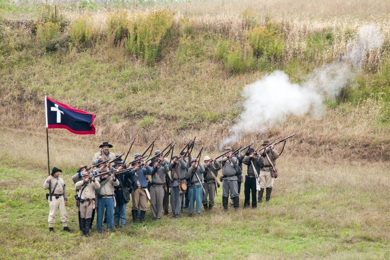 Reconstitution de guerre civile images libres de droits