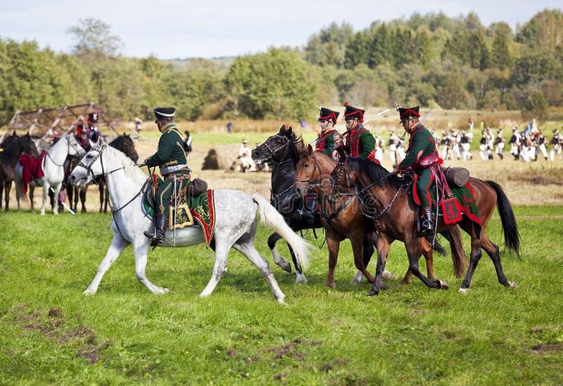 Reconstitution de la bataille de Borodino entre les armées russes et françaises en 1812 photographie stock libre de droits