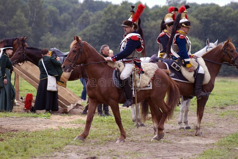 Reconstitution historique de bataille de Borodino en Russie, Cuirassiers photos libres de droits