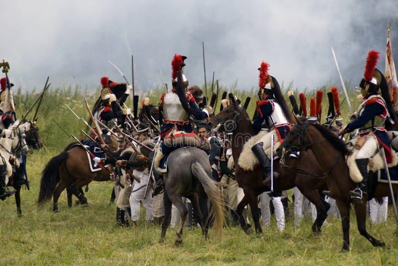 Reconstitution historique de bataille de Borodino en Russie, Cuirassiers images libres de droits