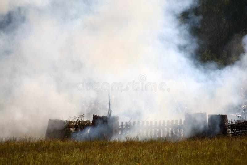 Reconstitution historique de bataille de Borodino en Russie image stock