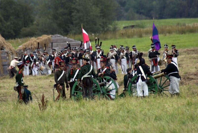 Reconstitution historique de bataille de Borodino en Russie Scène de bataille photographie stock