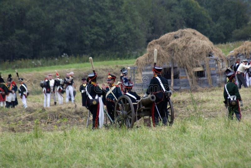 Reconstitution historique de bataille de Borodino en Russie Scène de bataille images libres de droits