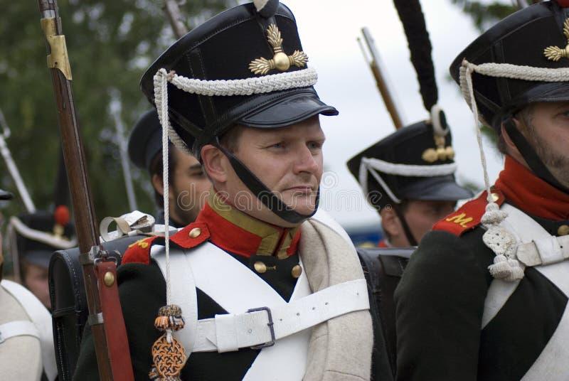 Reconstitution historique de bataille de Borodino en Russie Soldats russes d'armée images libres de droits