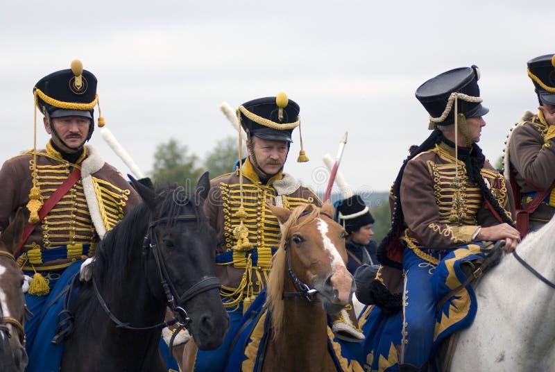 Reconstitution historique de bataille de Borodino en Russie Soldats russes d'armée photos libres de droits