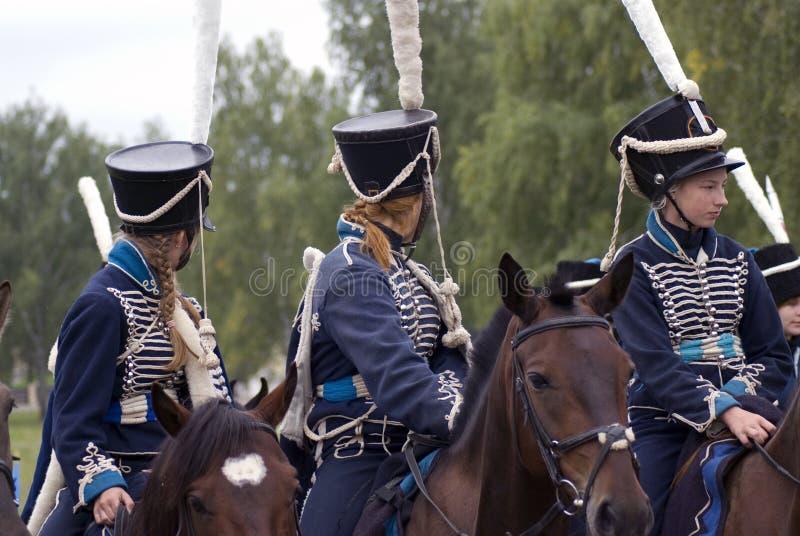 Reconstitution historique de bataille de Borodino en Russie Soldats russes d'armée image libre de droits
