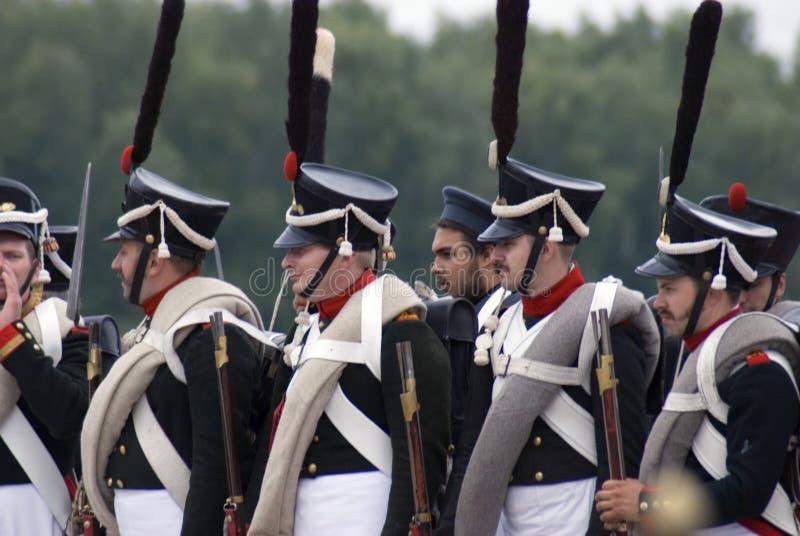 Reconstitution historique de bataille de Borodino en Russie Soldats russes d'armée photographie stock