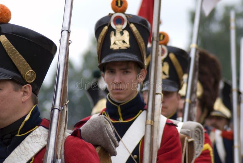 Reconstitution historique de bataille de Borodino en Russie Soldats russes d'armée photo libre de droits