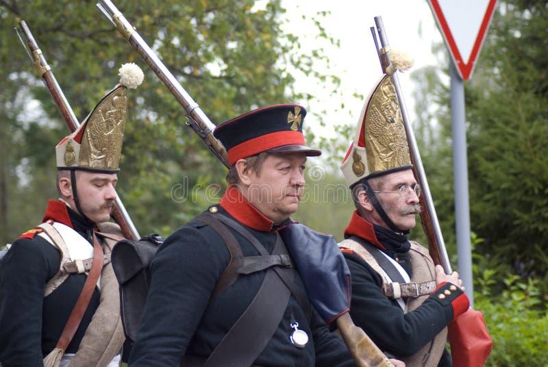 Reconstitution historique de bataille de Borodino en Russie Soldats russes d'armée images stock