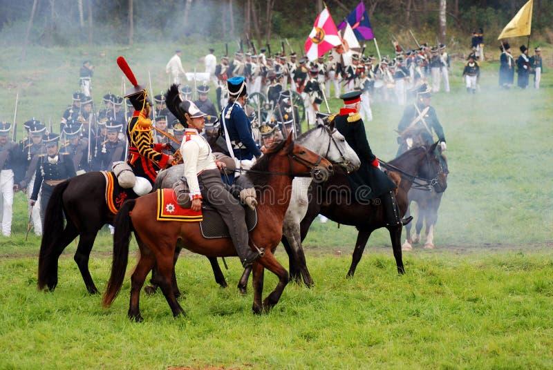 Reconstitution historique de bataille de Borodino en Russie photo libre de droits