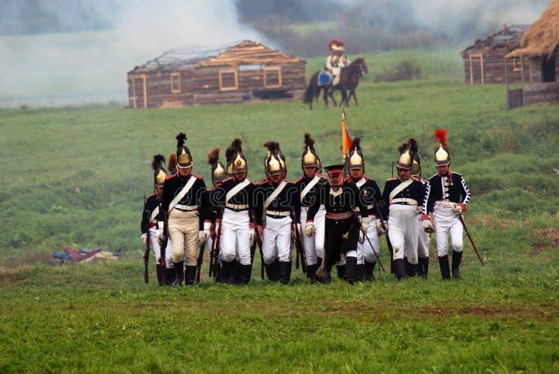 Reconstitution historique de bataille de Borodino en Russie image libre de droits