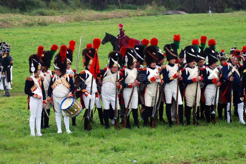 Reconstitution historique de bataille de Borodino en Russie photos stock