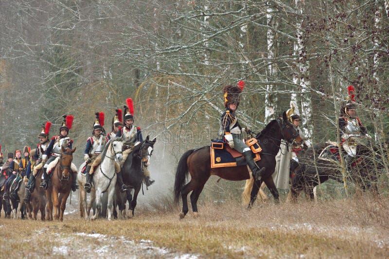 Reconstitution historique de la bataille de Berezina photo libre de droits