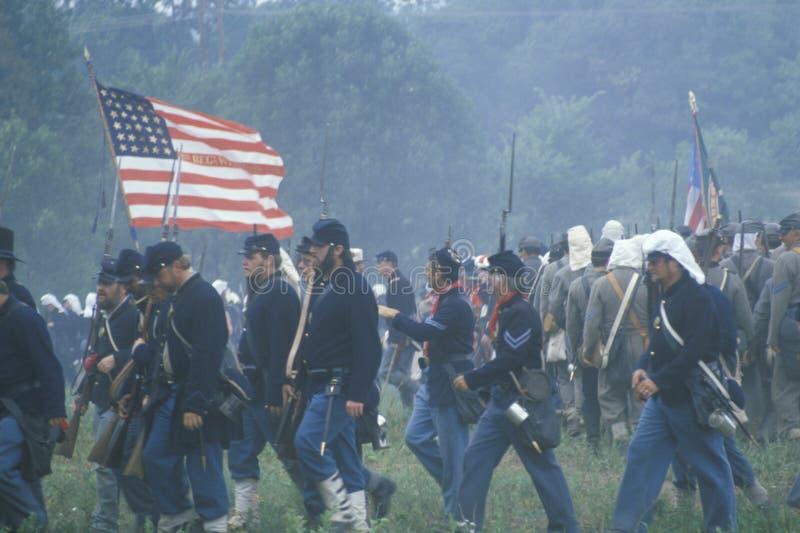 Reconstitution historique de la bataille de Manassas, marquant le début de la guerre civile, la Virginie image stock
