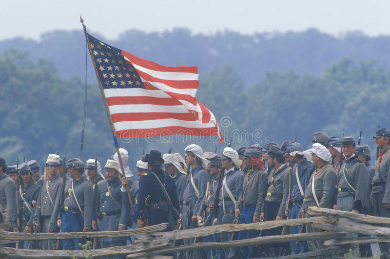 Reconstitution historique de la bataille de Manassas, marquant le début de la guerre civile, la Virginie image libre de droits