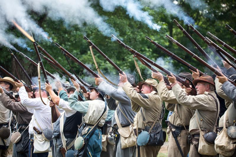 Reconstitution am?ricaine de bataille de guerre civile image stock