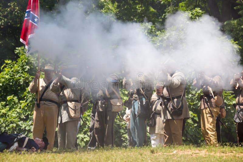 Reconstitution am?ricaine de bataille de guerre civile photos stock