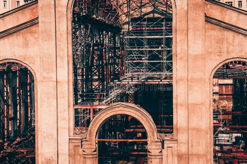 Reconstrução anterior da central elétrica GES-2 de Moscou foto de stock