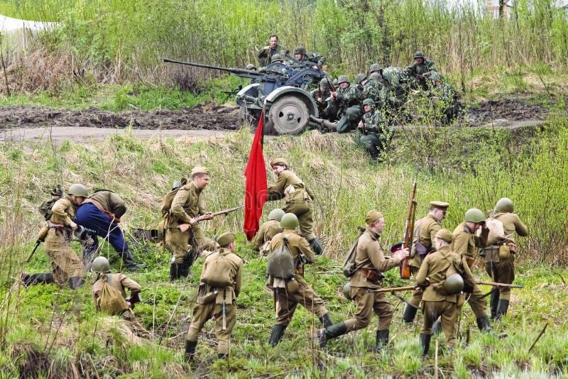 Reconstrução da batalha da segunda guerra mundial fotos de stock royalty free