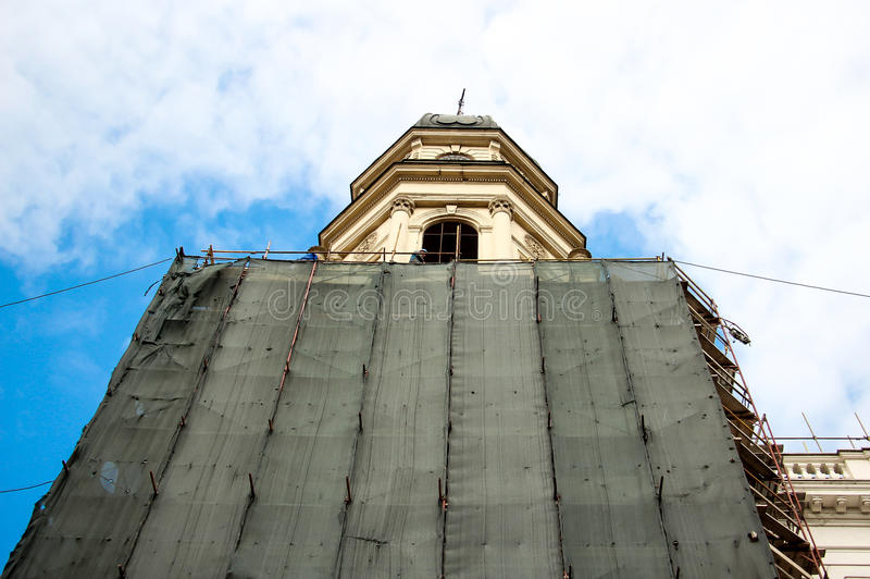 Reconstrução da igreja fotografia de stock royalty free