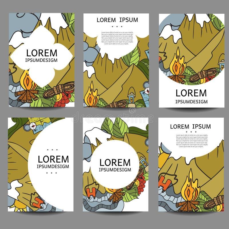 Reconstrucción abstracta de los folletos del vector Turismo y el acampar en estilo del garabato El vintage de las plantillas del  ilustración del vector
