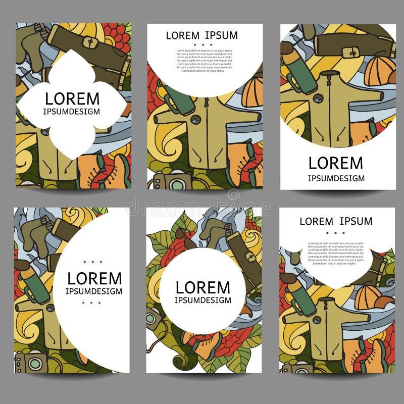 Reconstrucción abstracta de los folletos del vector Turismo y el acampar en estilo del garabato El vintage de las plantillas del  libre illustration