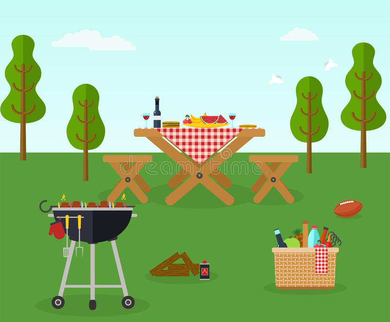 Reconstrucción al aire libre del partido del Bbq de la comida campestre ilustración del vector