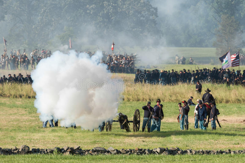 Reconstrucción de Gettysburgbattle foto de archivo