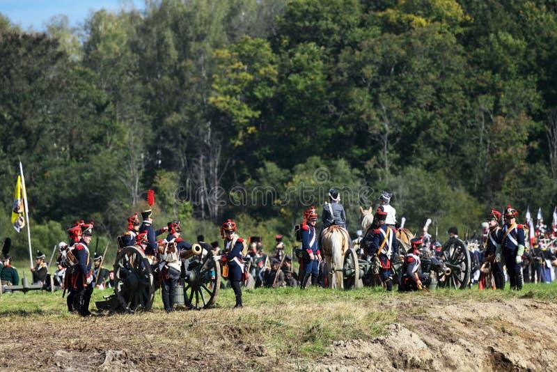 Reconstrucción de la batalla de Borodino foto de archivo