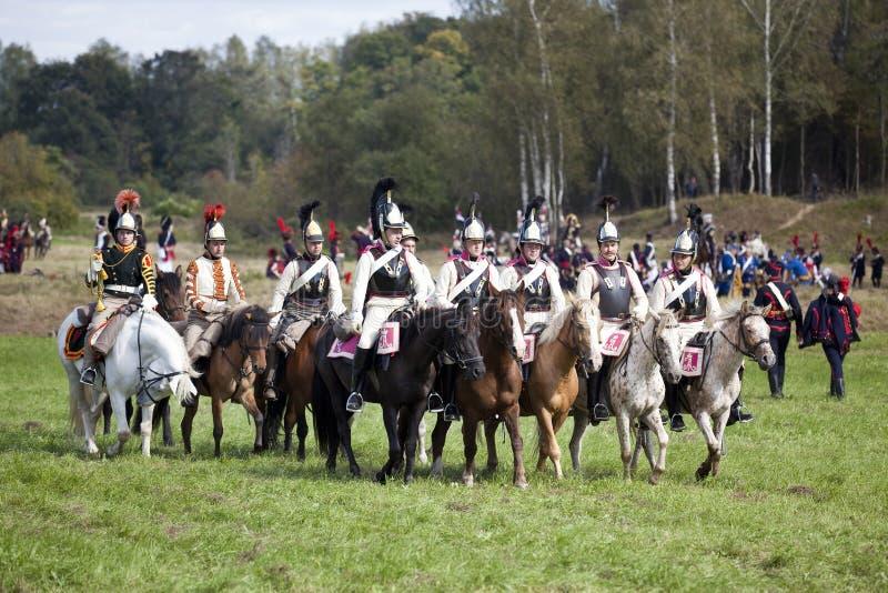 Reconstrucción de la batalla de Borodino entre los ejércitos rusos y franceses en 1812 fotografía de archivo libre de regalías