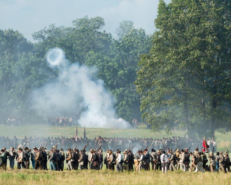 Reconstrucción de la batalla de Gettysburg imagen de archivo