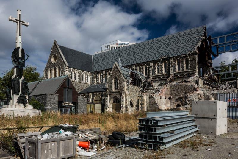 Reconstrucción de la catedral de Christchurch después del terremoto imagenes de archivo