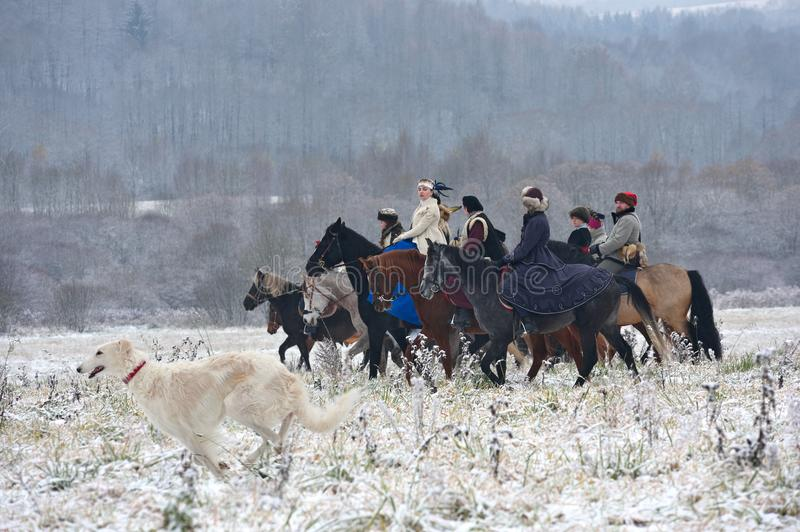 Reconstrucción de la caza tradicional con los perros lobo rusos fotografía de archivo