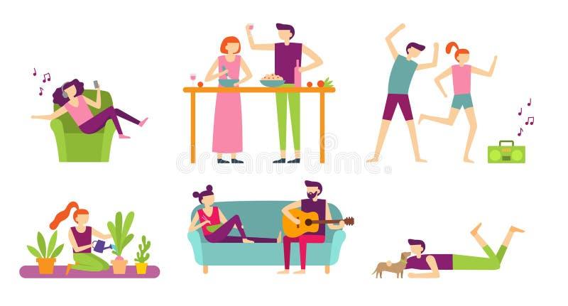 Reconstrucción de la gente en casa Día de fiesta joven del gasto de los pares y relajarse, cocinando y comiendo o escuchando la m ilustración del vector