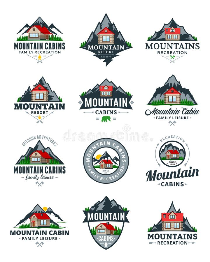 Reconstrucción de la montaña del vector y logotipo de los alquileres de la cabina libre illustration