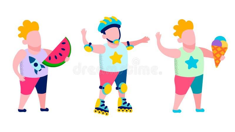 Reconstrucción de los niños y tarjeta sabrosa del aire libre del bocado stock de ilustración
