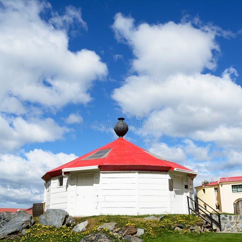 Reconstrucción del faro antiguo de Ushuaia la Argentina imágenes de archivo libres de regalías