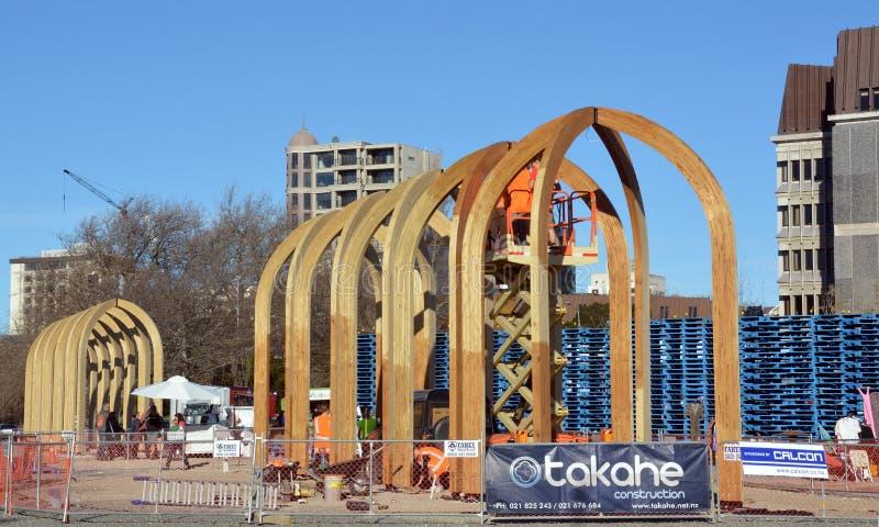 Reconstrucción del terremoto de Christchurch - el proyecto de las arcadas toma forma. imagenes de archivo