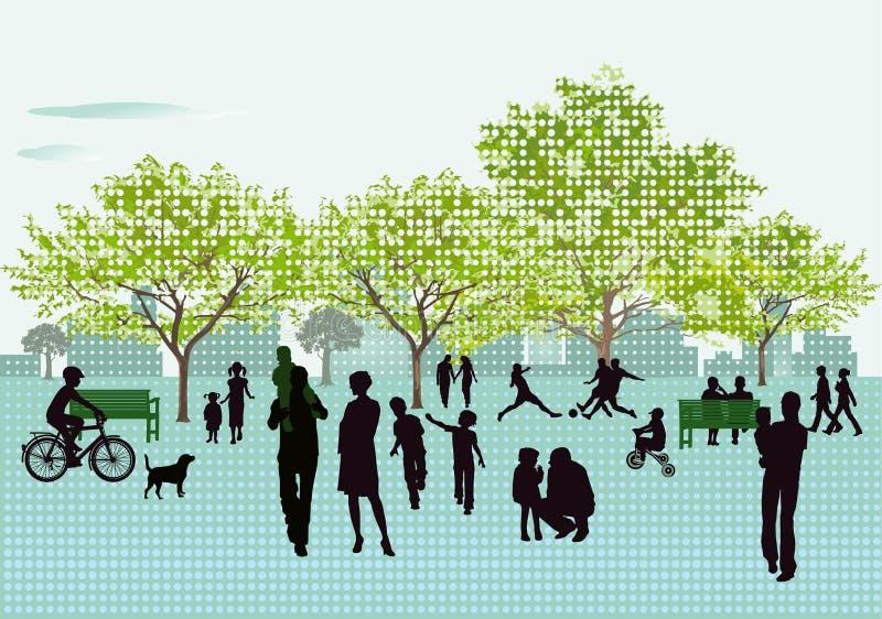 Reconstrucción en el parque ilustración del vector