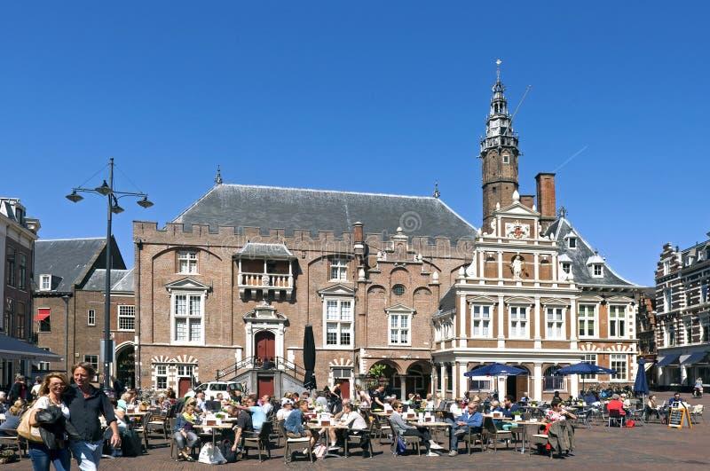 Reconstrucción en la plaza del mercado, Grote Markt Haarlem imágenes de archivo libres de regalías