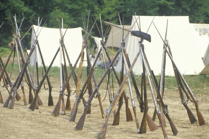 Reconstrucción histórica de la batalla de Manassas, marcando el principio de la guerra civil, Virginia imagen de archivo libre de regalías