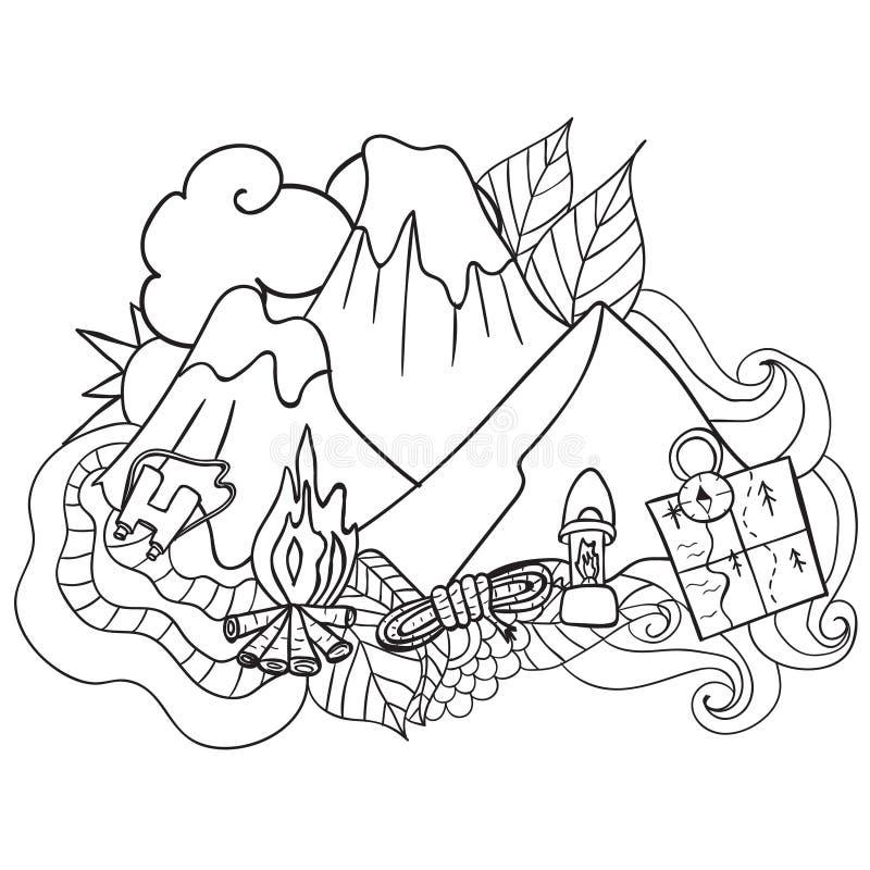reconstrucción Turismo y el acampar Elementos dibujados mano del garabato - ejemplo del vector componentes del viaje libre illustration