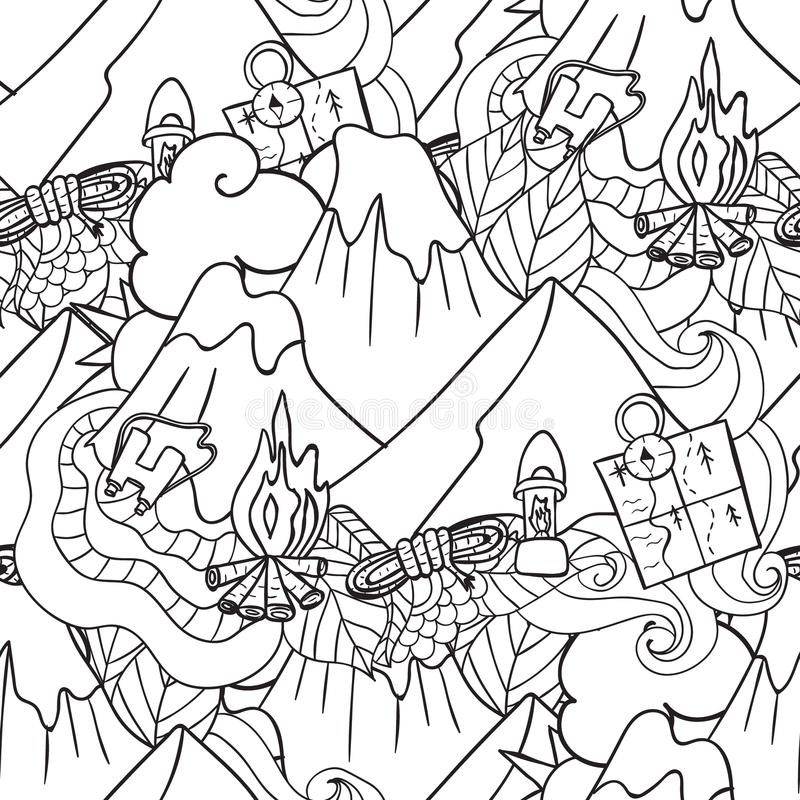 reconstrucción Turismo y el acampar Elementos dibujados mano del garabato - ejemplo inconsútil del vector componentes del viaje stock de ilustración