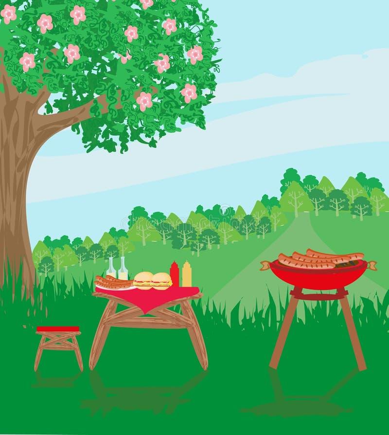 Reconstrucci?n al aire libre del partido del Bbq de la comida campestre libre illustration