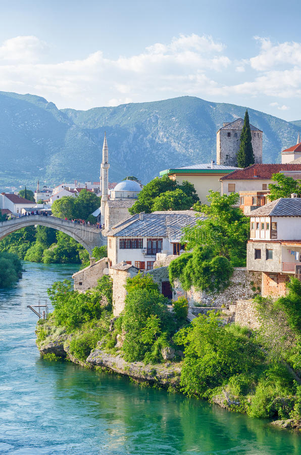Reconstructed Old Bridge of Mostar on river Neretva. Bosnia and. Herzegovina stock photos